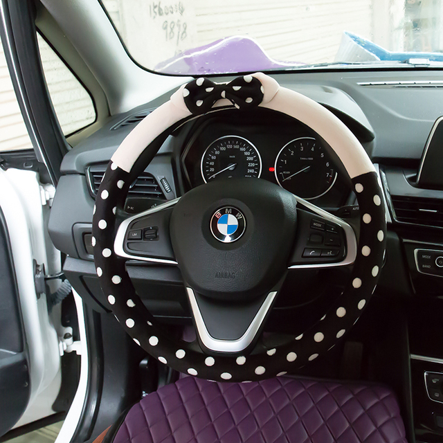 2017 new cartoon bow polka dot car steering wheel cover cute universal auto interior accessories. Black Bedroom Furniture Sets. Home Design Ideas