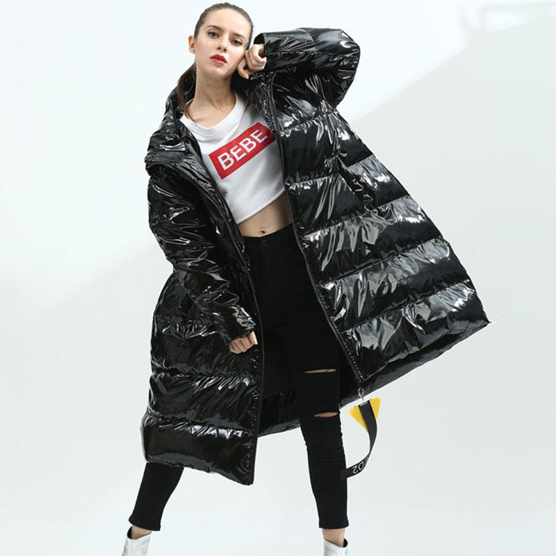 Femmes Outwear Veste Mode Mot Hs572 Noir D'hiver Manteaux Un Chaud Long Parka Brillant 2018 Lâche En Duvet Down Capuchon À Vestes Black Femme 8q6Sd1t