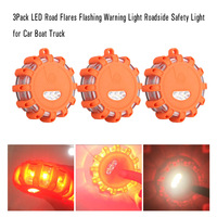 3Pack LED Road Flares Flashing Warning Light Roadside Safety Light For Car Boat Truck