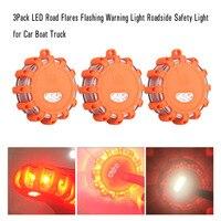 3Pack LED Road Flares Flashing Warning Light Roadside Safety Light For Car Boat Truck
