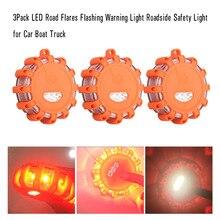 3 Paquete de LED Luz Intermitente de Advertencia de Seguridad En Carretera Carretera Bengalas para Barco Del Carro Del Coche