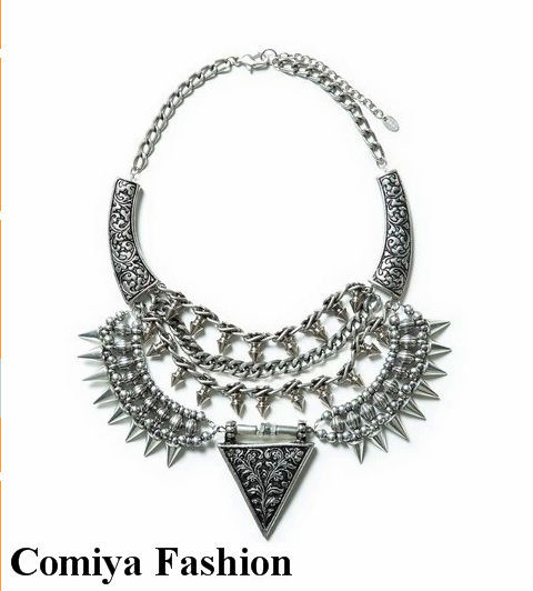 Trendy Acrylic Zinc Alloy Silver Shield Statement Necklace Collar Necklace Women Fashion Jewelry Bijoux