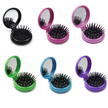 Magic Round Pocket Small Folding Comb anti-static Hair Brush Mirror Portable Travel Massage With for