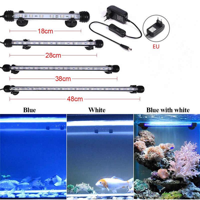 Aquarium 9/12/15/21 SMD5050 LED-Licht Blau/Weiß 18/28/38/48 CM Bar Tauchwasserdichte Clip Lampe Decor Eu-stecker