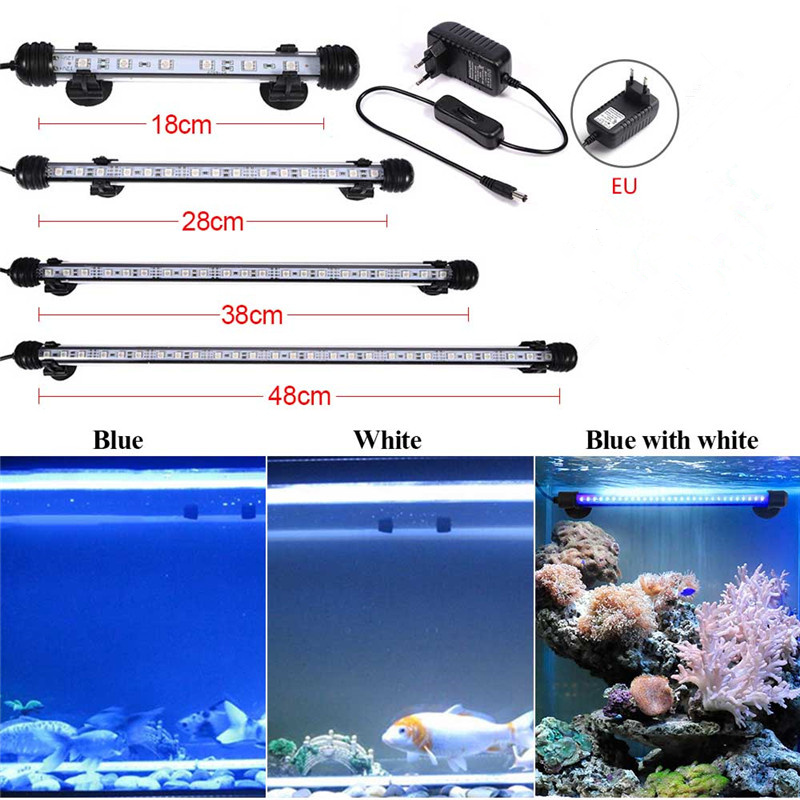 Aquarium Fish Tank 9/12/15/21 SMD5050 LED Light Blue/White 18/28/38/48CM Bar Submersible Waterproof Clip Lamp Decor EU Plug 18cm 30cm aquarium led strip bar light tube 1w 2 4w waterproof submersible fish tank lamp smd5050 white blue decor lighting