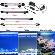 Aquarium Fish Tank 9/12/15/21 SMD5050 LED Light Blue/White 18/28/38/48CM Bar Submersible Waterproof Clip Lamp Decor EU Plug