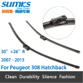 "Wiper blades for Peugeot 308 Hatchback ( 2007 - 2013 ) 30""+26""R fit push button type wiper arms"