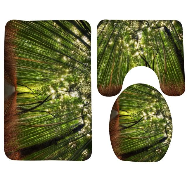 Badkamer Mat Sets 3 stks Bos Boom Bamboe Patroon Badmat Anti Slip ...
