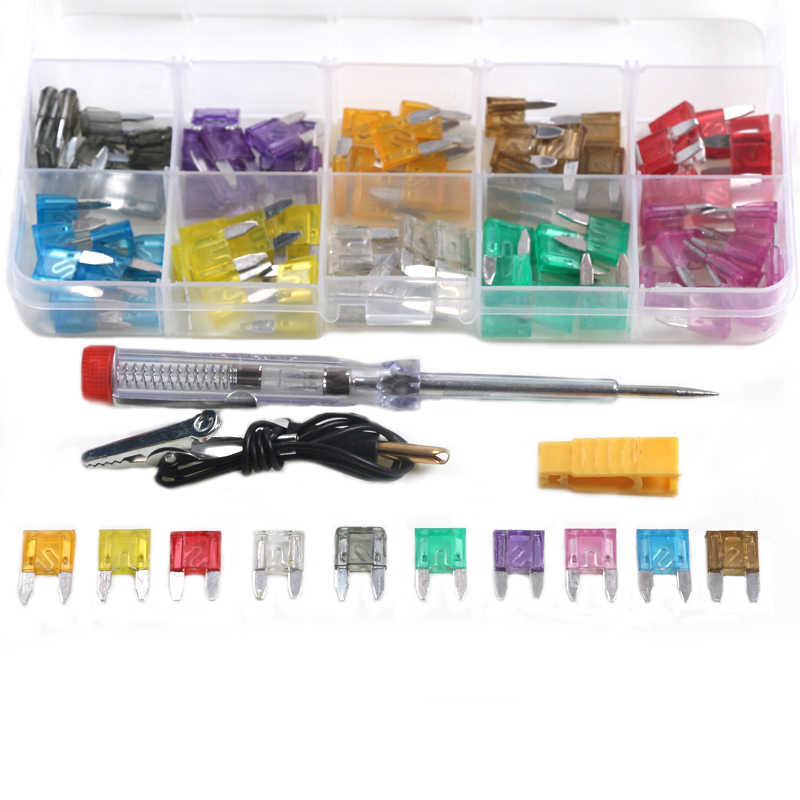 100pcs Assorted Auto Car Low Profile Mini Blade Fuses 2A/3A/5A/7.5A/10A/15A/20A/25A/30A/35A with Test Pen Plug Glass Fuse Kit