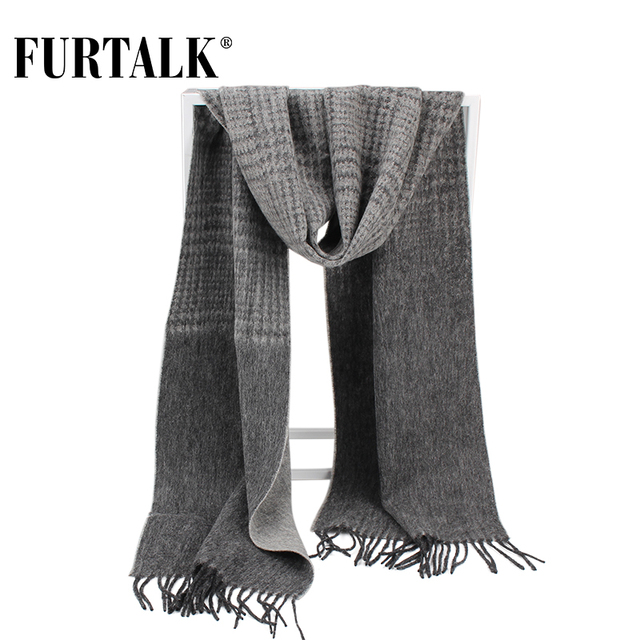 FURTALK 100% Lamb Wool Plaid Male Scarf Men Luxury Brand Winter Wool Autumn Winter Scarves for Men