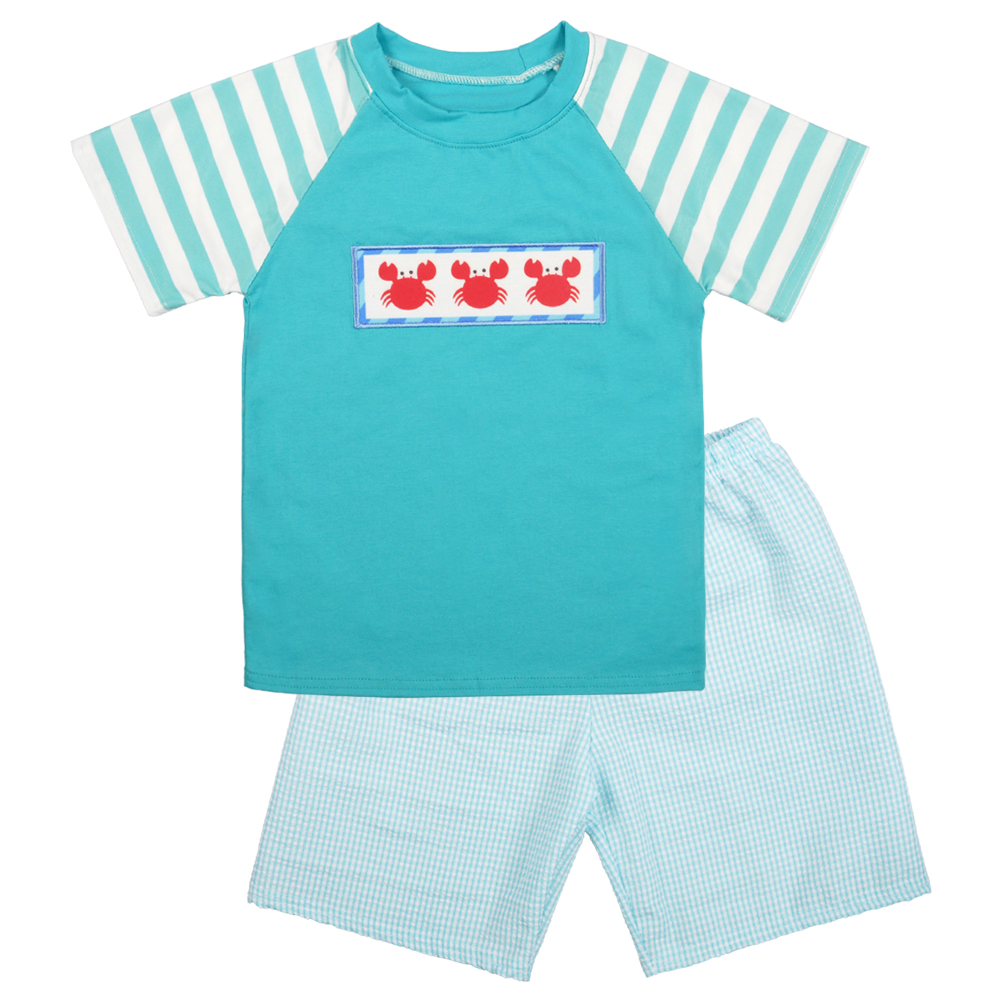 Summer Boy Outfit t shirt sets CONICE Lobster Short Sleeve T-shirt Sets Seersucker Kids Outfits for Boys Baby Boy ClothesSummer Boy Outfit t shirt sets CONICE Lobster Short Sleeve T-shirt Sets Seersucker Kids Outfits for Boys Baby Boy Clothes