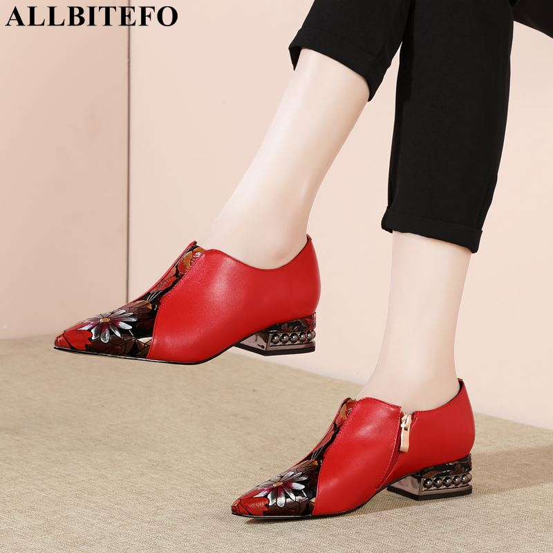 Image 2 - ALLBITEFO high quality genuine leather pointed toe mixed colors women shoes brand high heels office ladies shoes women heels-in Women's Pumps from Shoes