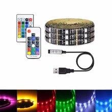 5 V strip LED Light USB SMD 5050 RGB led Waterproof 5V diode tape 17 key controller Remote 3 Mini Flexible Led