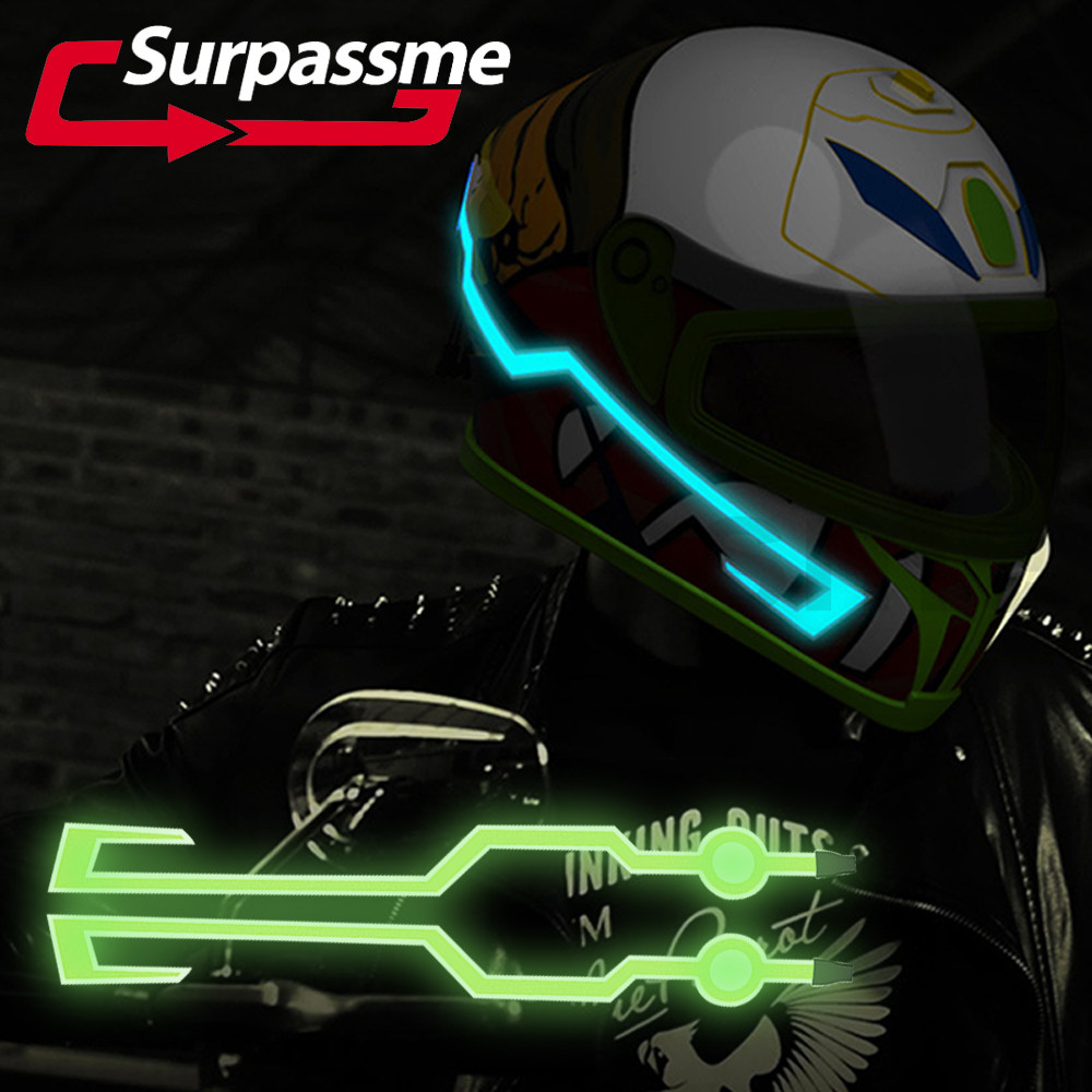 Motorcycle Helmet LED Light Waterproof Durable Night Riding Signal Bar Flashing Stripe Kit
