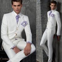 Новый индивидуальный заказ белый Для мужчин Нарядные Костюмы для свадьбы жениха Смокинги для женихов Для мужчин формальный костюм пальто +