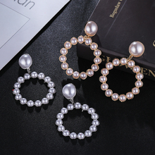 HOCOLE Fashion Imitation Pearl Drop Earrings For Women Gold/Silver Round  Dangle Earring Trendy Jewelry Wedding Party Gift