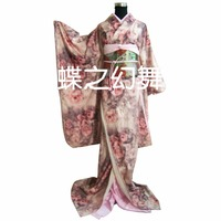 Japanese Traditional Women Rose Floral Furisode Kimono Cosplay Costume