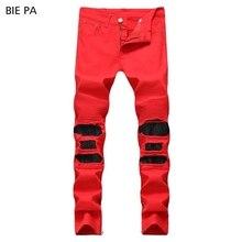 New men jeans denim pants biker jeans ri