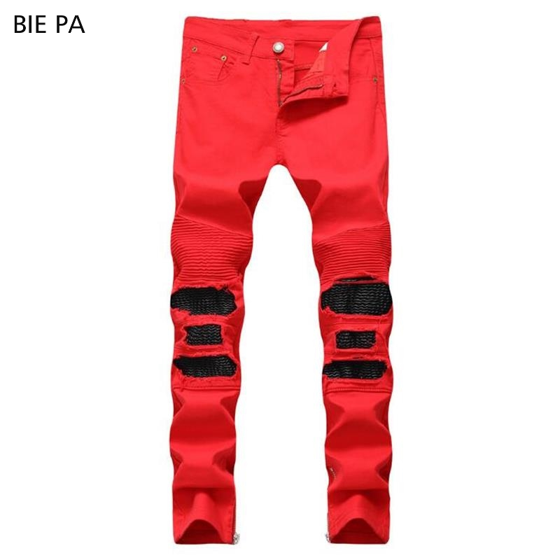 New men   jeans   denim pants biker   jeans   ripped   jeans   Male Casual black and red fashion   jeans   men #6604