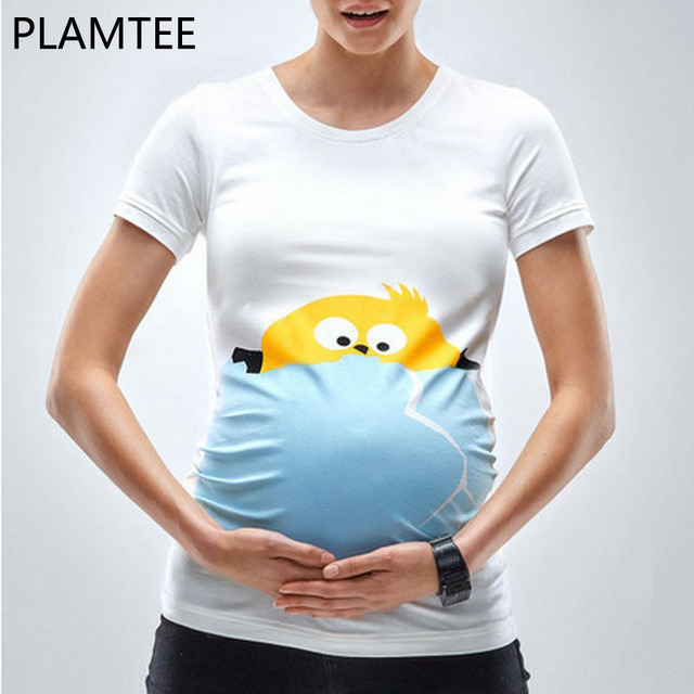 0f2a62cbcacb6 PLAMTEE Maternity Tops Funny Cartoon Print Pregnancy Shirts Plus Size Short  Sleeve For Pregnant Women Summer New T-shirt Female