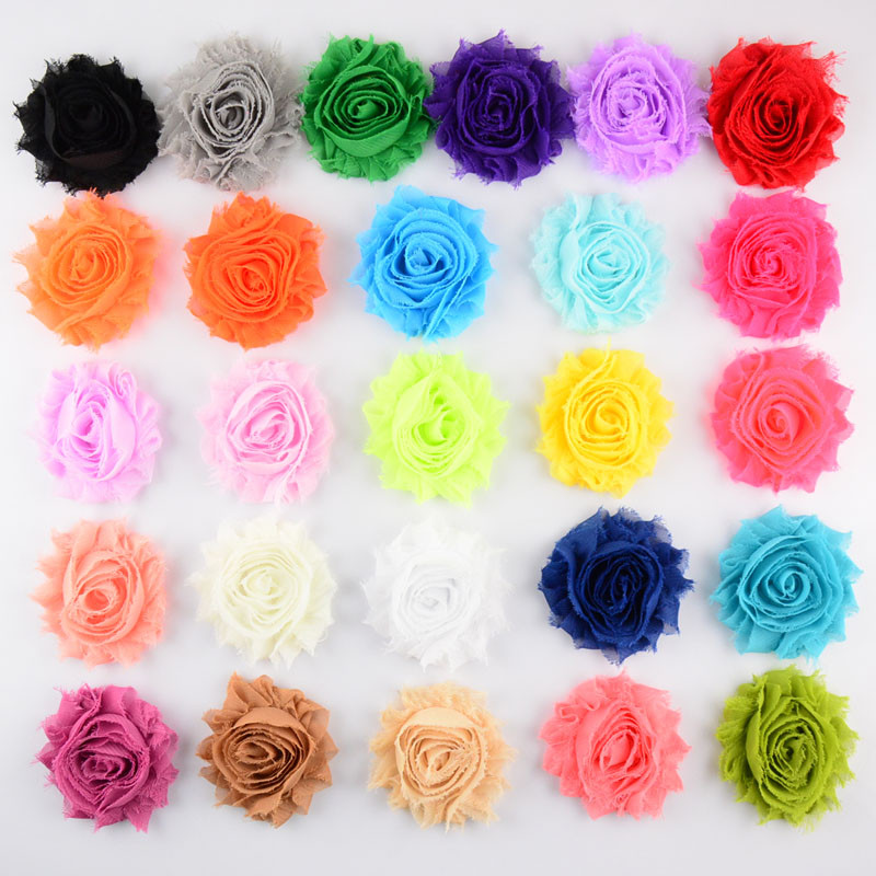 30pcs/lot 26 Color U Pick 2.5 Inch Chic Chiffon Shabby Frayed Rose Fabric Flowers Hair Accessories DIY Craft Supplies FH18