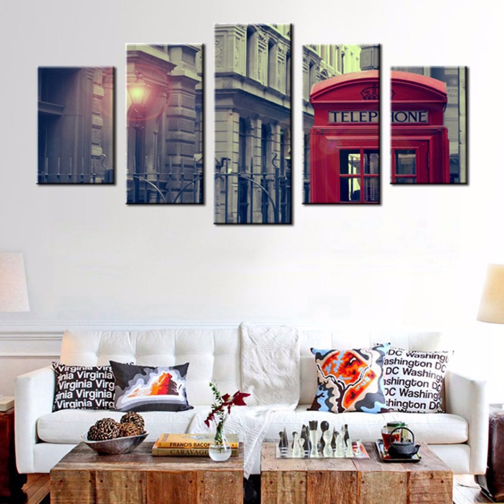 Red Telephone Booth And Big Ben In London Street Wall Art Painting ...