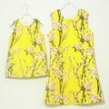Бренд форма Линии/плиссированные юбки Рукавов сарафаны мать и дочь платье женщин платья семьи сопоставления одежда