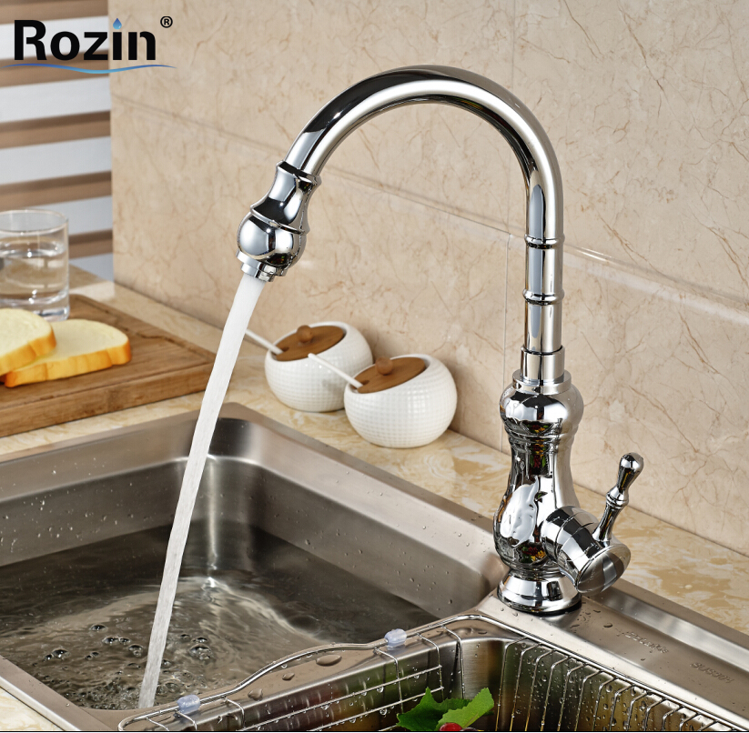 Polished Chrome Single Hole Brass Kitchen Faucet One Handle 360 Rotation Kitchen Mixer Taps