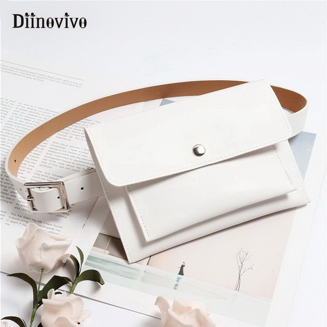 DIINOVIVO Women Waist Belt Bag Fashion Lady Waistband Dress Belt Female Leather Bags with Two Pockets Fit Phone /Cards WHDV0677