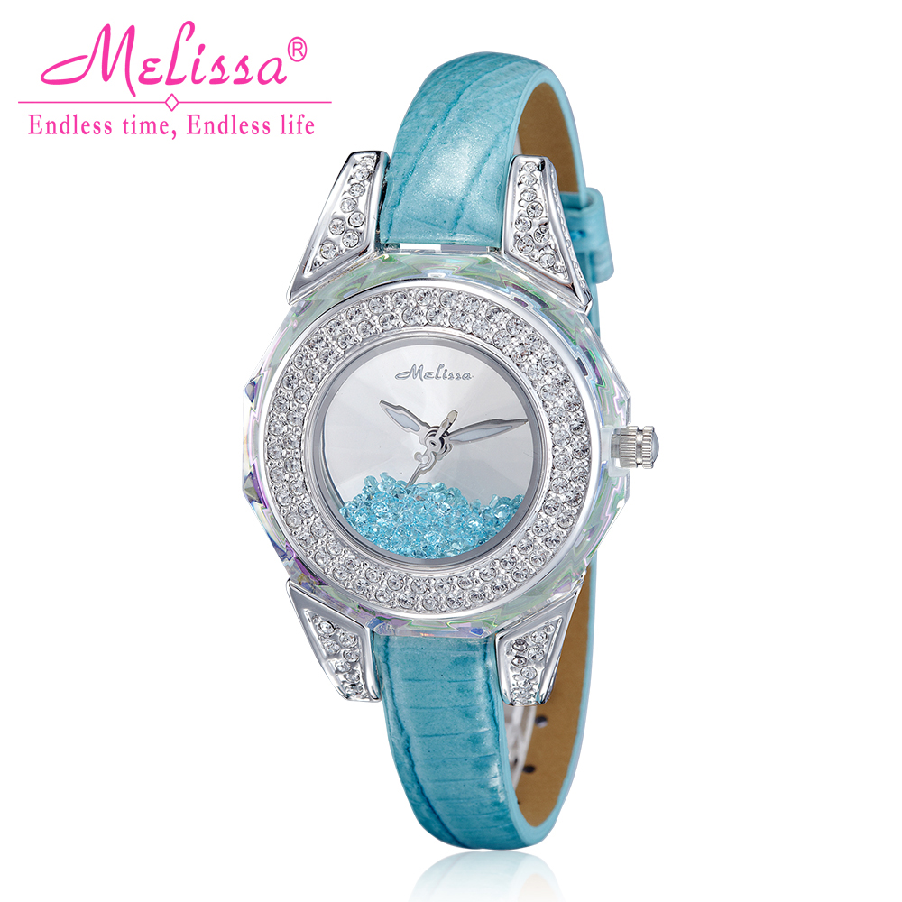 Melissa Lady Women's Watch Japan Quartz Hours Fashion Clock Bracelet Leather Crystal Luxury Rhinestones Girl Birthday Gift fashion modern silver crystal flower quartz pocket watch necklace pendant women lady girl birthday gift relogio de bolso antigo