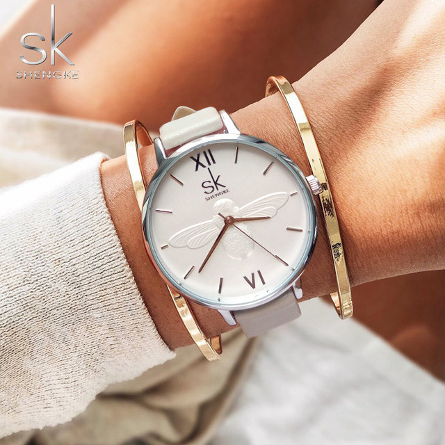 Shengke Fashion Casual Quartz Watch For Woman Female Elegant White Wrist Watch L