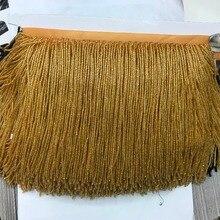 Золотая Хрустальная ручная работа 15 см широкая бисерная бахрома обрезка, 5 ярдов, около 270 бисерных нитей/ярдов SGTM16