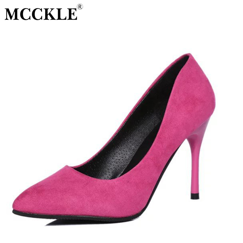 MCCKLE Female Pointed Toe Sexy Slip On Party Wedding High Heels Ladies Black Pumps Women's Style Autumn Comfortable Shoes slip on high quality women pumps sexy thin high heels colorful rivet shoes female fashion pumps pointed toe wedding party shoes