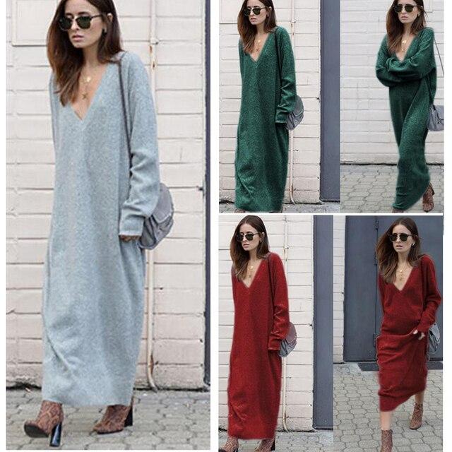 fdeb030ee7aa Quente 2017 Outono Inverno Vestido de Malha Com Decote Em V Vestidos longos  soltos Mulheres Vestido