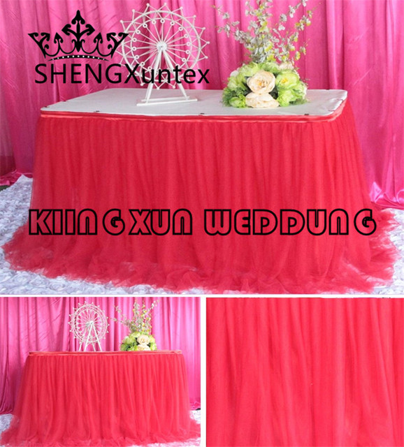 Free Shipping Poly Ice Silk Table Skirt \ Table Cloth Skirting With 2 Layer  TUTU Fabric