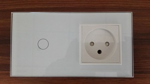 Livolo EU Standard + Israel Power Socket, White Crystal Glass Panel, AC 100~250V 16A Wall Power Socket, Free shipping(China)