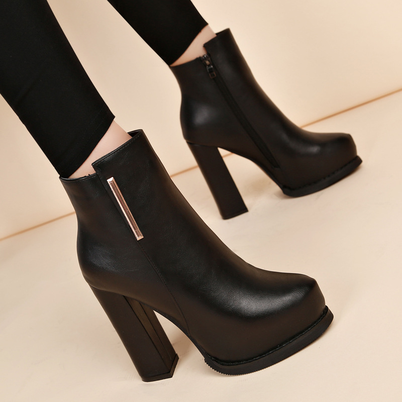 2019 New High-heeled Thick With Martin Boots British Wind Wild Short Boots Thick Bottom Plus Velvet Women's Ankle Boots