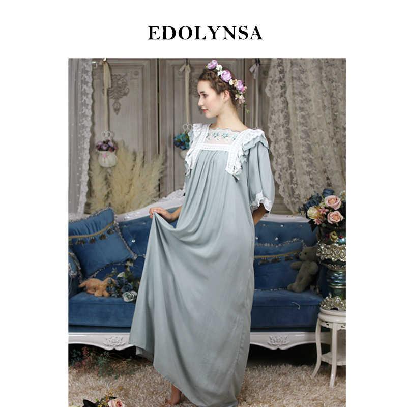 adf7b8606b Vintage Nightgown Sleepshirts Victorian Butterfly Sleeve Autumn Home Wear  Night Dress Long Robe Romantic Lace Sleeping