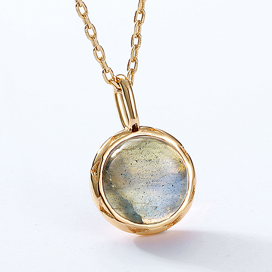ALLNOEL Real Labradorite Pendants Necklace For Women Solid 925 Sterling Silver Round Gemstone Jewerly Engagement Wedding New (7)