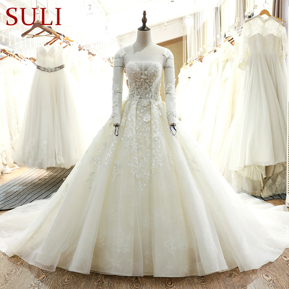 SL 20 New Arrival Tulle Long Sleeve Ball Gown Wedding Dress 20