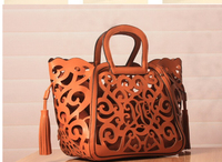 Lowest price resell 1pcs Hot Sale tassel cut out women handbag hollow out vintage big purse shoulder bags totes