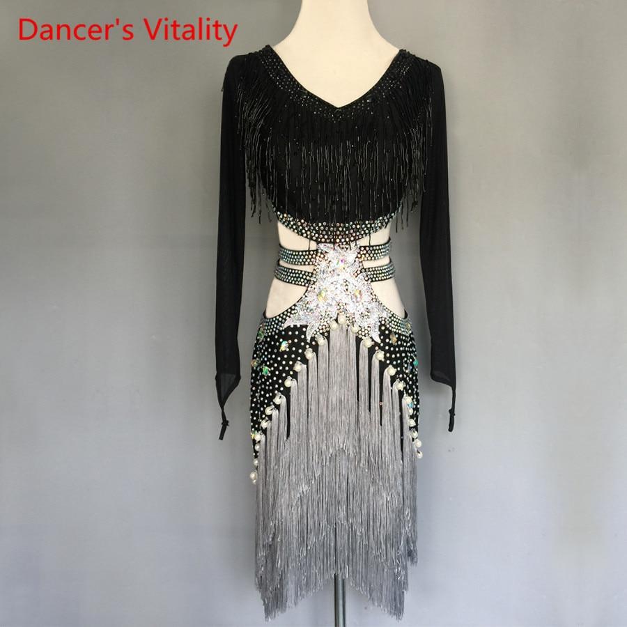 Women/GirlsLatin Dance Costumes Custom Diamond Beaded Tassel Dress Adult Child Latin Dance Stage Performance Clothing