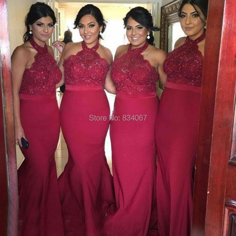 Halter Mermaid Bridesmaid Dresses 2017 Bead Sequin Applique Long Gowns  Women Wedding Party Wine Colored Bridesmaids Dress-in Bridesmaid Dresses  from ... 44eaea0c57a9