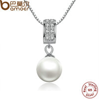 BAMOER New Trendy 925 Sterling Silver Pearl Pendant Necklace Long Chain Necklace Fine Jewelry Wedding Accessories