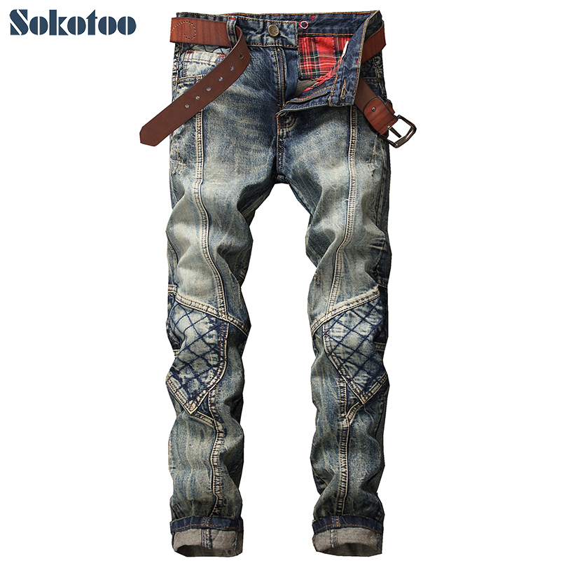 Sokotoo Men's vintage patchwork denim jeans Fashion slim patch hole ripped straight pants Long trousers 2017 new men s fashion vintage zipper patch hole ripped biker jeans slim straight stretch denim pants long trousers