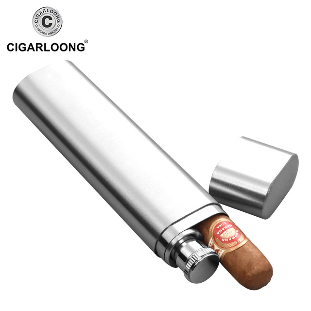 Stainless Steel Double Pipe Cigar Travel Jar Outdoor Humidor Carrying Jug Cg 0122