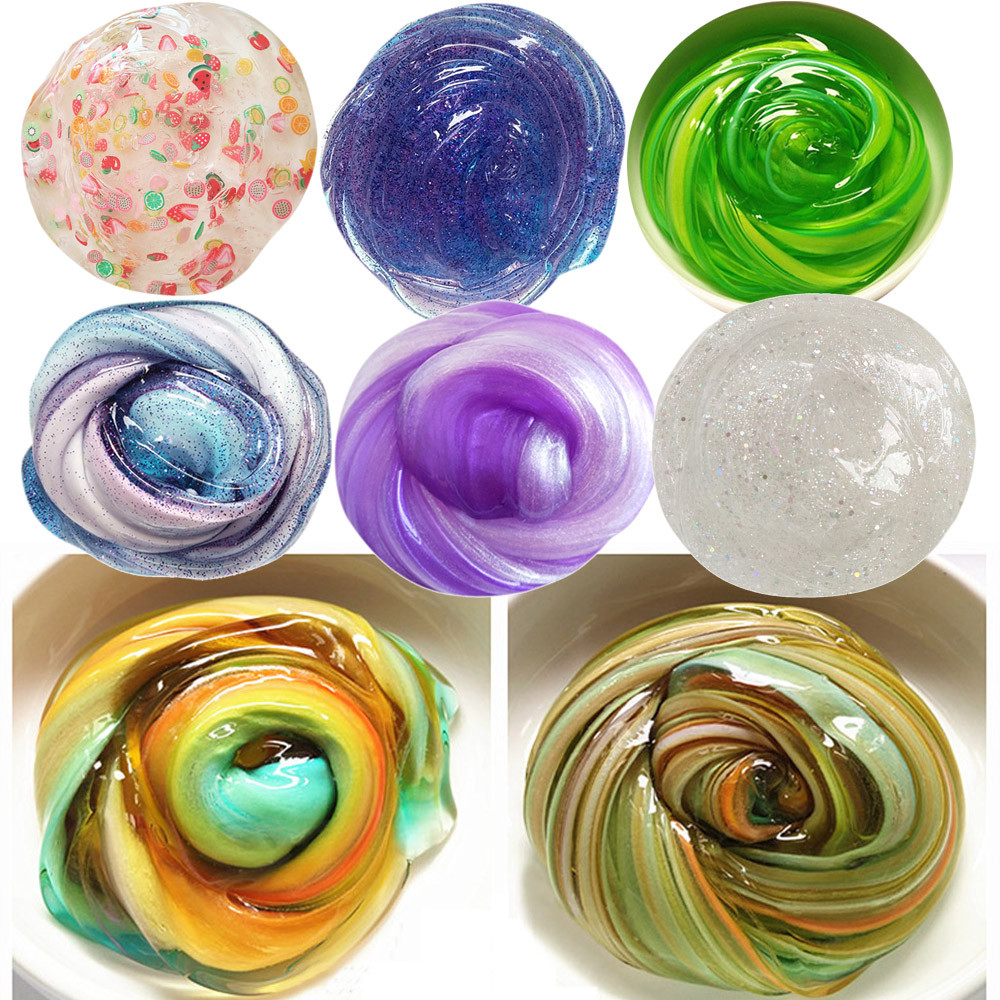 Kid Fun Clay Toy Gift Anti-stress DIY Colorful Fluffy Floam Slime Scented Stress Relief Kids Toy Sludge Mud Antistress Toys