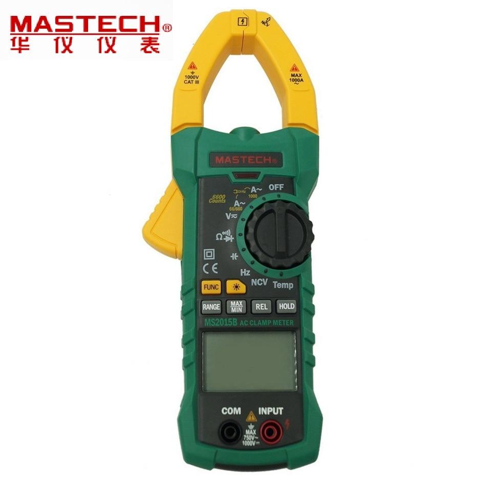 MASTECH MS2015B Auto Range 6000 Counts Digital Clamp Multimeter AC/DC Tester True RMS temperature measurement portable lcd digital multimeter ac dc current ohm voltmeter temperature auto range ammeter 6000 counts backlight