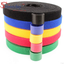 купить 5 Meters/roll Width 1.5 cm magic sticker nylon cable ties reusable wire management cable ties 6 colors to choose from DIY дешево