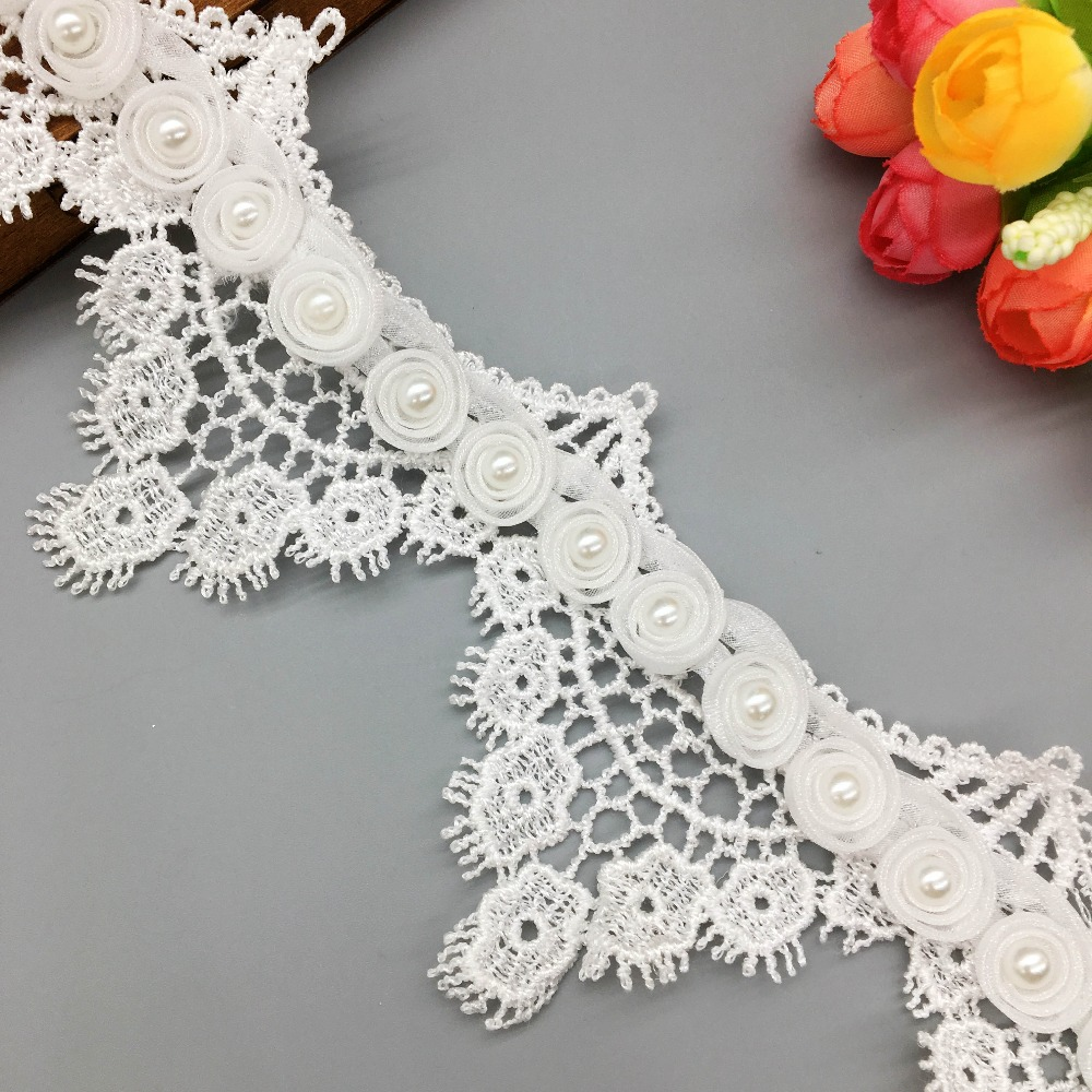 2Yards Embroidery Flower Tulle Lace Trim Ivory Flower 7cm wide Wedding Dress